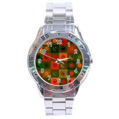 Space Month Saturnus Planet Star Hole Black White Multicolour Orange Stainless Steel Analogue Watch by AnjaniArt