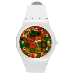 Space Month Saturnus Planet Star Hole Black White Multicolour Orange Round Plastic Sport Watch (m) by AnjaniArt