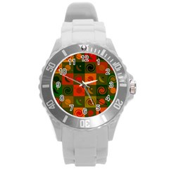 Space Month Saturnus Planet Star Hole Black White Multicolour Orange Round Plastic Sport Watch (l) by AnjaniArt