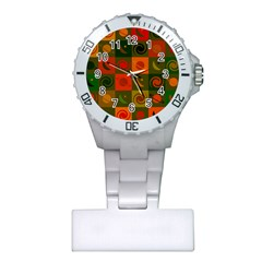 Space Month Saturnus Planet Star Hole Black White Multicolour Orange Plastic Nurses Watch by AnjaniArt