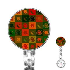 Space Month Saturnus Planet Star Hole Black White Multicolour Orange Stainless Steel Nurses Watch by AnjaniArt