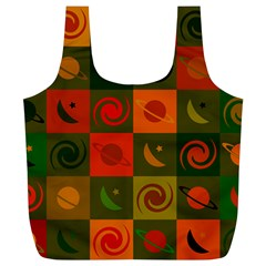 Space Month Saturnus Planet Star Hole Black White Multicolour Orange Full Print Recycle Bags (L)  by AnjaniArt
