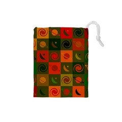 Space Month Saturnus Planet Star Hole Black White Multicolour Orange Drawstring Pouches (small)  by AnjaniArt