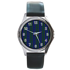 Split Diamond Blue Green Woven Fabric Round Metal Watch by AnjaniArt