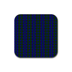 Split Diamond Blue Green Woven Fabric Rubber Square Coaster (4 Pack)  by AnjaniArt
