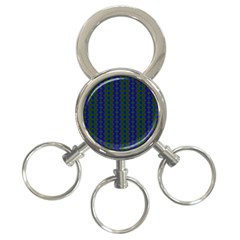 Split Diamond Blue Green Woven Fabric 3 Ring Key Chains by AnjaniArt