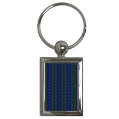 Split Diamond Blue Green Woven Fabric Key Chains (rectangle)  by AnjaniArt