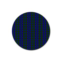 Split Diamond Blue Green Woven Fabric Rubber Coaster (round)  by AnjaniArt