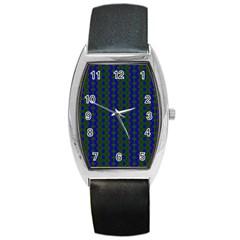 Split Diamond Blue Green Woven Fabric Barrel Style Metal Watch by AnjaniArt