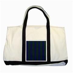 Split Diamond Blue Green Woven Fabric Two Tone Tote Bag by AnjaniArt