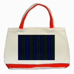 Split Diamond Blue Green Woven Fabric Classic Tote Bag (red) by AnjaniArt