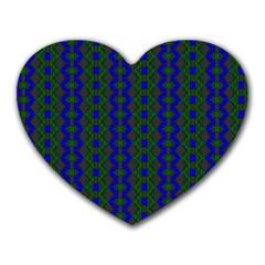 Split Diamond Blue Green Woven Fabric Heart Mousepads by AnjaniArt