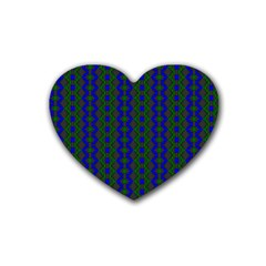 Split Diamond Blue Green Woven Fabric Heart Coaster (4 Pack)  by AnjaniArt