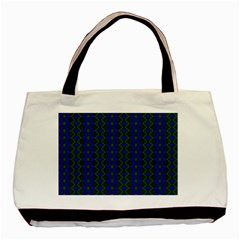 Split Diamond Blue Green Woven Fabric Basic Tote Bag (two Sides) by AnjaniArt