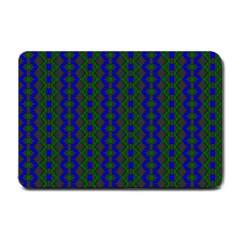 Split Diamond Blue Green Woven Fabric Small Doormat  by AnjaniArt