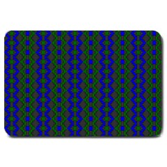 Split Diamond Blue Green Woven Fabric Large Doormat  by AnjaniArt