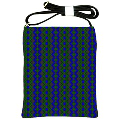Split Diamond Blue Green Woven Fabric Shoulder Sling Bags by AnjaniArt
