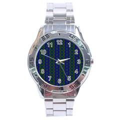 Split Diamond Blue Green Woven Fabric Stainless Steel Analogue Watch by AnjaniArt