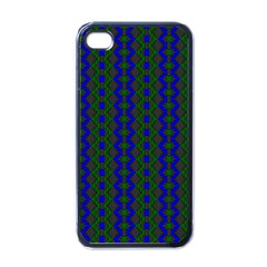Split Diamond Blue Green Woven Fabric Apple Iphone 4 Case (black) by AnjaniArt