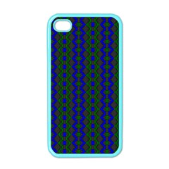 Split Diamond Blue Green Woven Fabric Apple Iphone 4 Case (color) by AnjaniArt