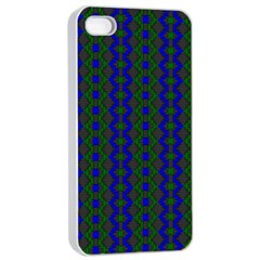 Split Diamond Blue Green Woven Fabric Apple Iphone 4/4s Seamless Case (white) by AnjaniArt