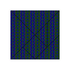 Split Diamond Blue Green Woven Fabric Acrylic Tangram Puzzle (4  X 4 ) by AnjaniArt