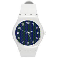 Split Diamond Blue Green Woven Fabric Round Plastic Sport Watch (m) by AnjaniArt