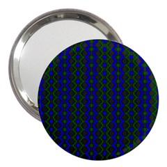 Split Diamond Blue Green Woven Fabric 3  Handbag Mirrors by AnjaniArt