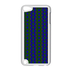Split Diamond Blue Green Woven Fabric Apple Ipod Touch 5 Case (white) by AnjaniArt