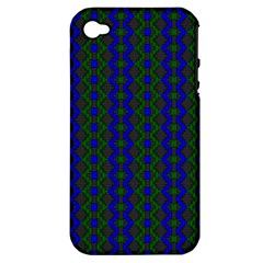Split Diamond Blue Green Woven Fabric Apple Iphone 4/4s Hardshell Case (pc+silicone) by AnjaniArt