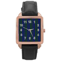 Split Diamond Blue Green Woven Fabric Rose Gold Leather Watch  by AnjaniArt