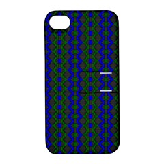 Split Diamond Blue Green Woven Fabric Apple Iphone 4/4s Hardshell Case With Stand by AnjaniArt