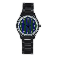 Split Diamond Blue Green Woven Fabric Stainless Steel Round Watch by AnjaniArt