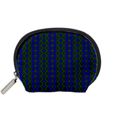 Split Diamond Blue Green Woven Fabric Accessory Pouches (small)  by AnjaniArt