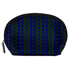 Split Diamond Blue Green Woven Fabric Accessory Pouches (large)  by AnjaniArt