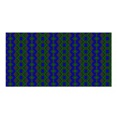 Split Diamond Blue Green Woven Fabric Satin Shawl by AnjaniArt