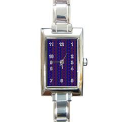 Split Diamond Blue Purple Woven Fabric Rectangle Italian Charm Watch by AnjaniArt