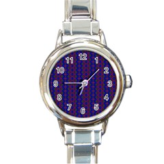 Split Diamond Blue Purple Woven Fabric Round Italian Charm Watch by AnjaniArt