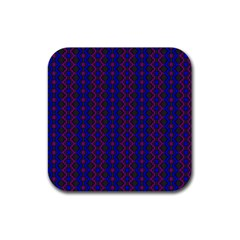 Split Diamond Blue Purple Woven Fabric Rubber Square Coaster (4 Pack)  by AnjaniArt