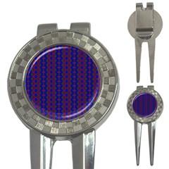 Split Diamond Blue Purple Woven Fabric 3 In 1 Golf Divots by AnjaniArt