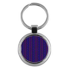 Split Diamond Blue Purple Woven Fabric Key Chains (round)  by AnjaniArt