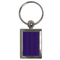 Split Diamond Blue Purple Woven Fabric Key Chains (rectangle)  by AnjaniArt