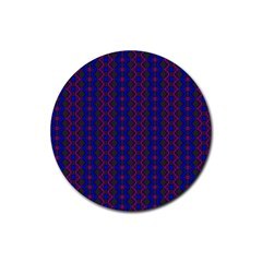 Split Diamond Blue Purple Woven Fabric Rubber Round Coaster (4 Pack)  by AnjaniArt