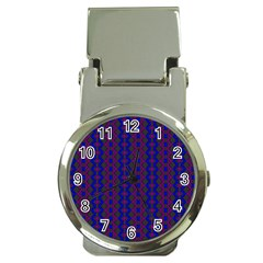 Split Diamond Blue Purple Woven Fabric Money Clip Watches by AnjaniArt