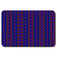 Split Diamond Blue Purple Woven Fabric Large Doormat  by AnjaniArt