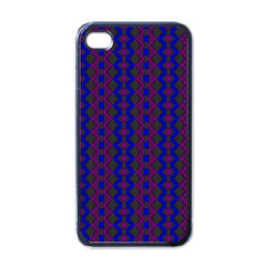 Split Diamond Blue Purple Woven Fabric Apple Iphone 4 Case (black) by AnjaniArt