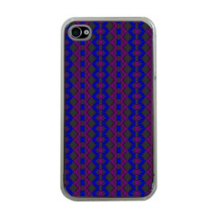 Split Diamond Blue Purple Woven Fabric Apple Iphone 4 Case (clear) by AnjaniArt