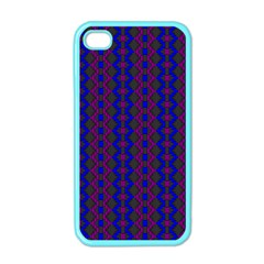Split Diamond Blue Purple Woven Fabric Apple Iphone 4 Case (color) by AnjaniArt