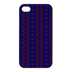Split Diamond Blue Purple Woven Fabric Apple Iphone 4/4s Hardshell Case by AnjaniArt
