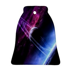 Space Pelanet Saturn Galaxy Bell Ornament (two Sides) by AnjaniArt